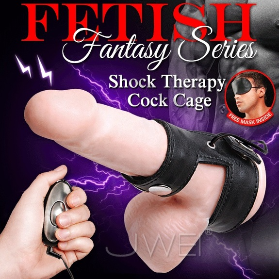 美國原裝進口PIPEDREAM.Fantasy Series系列 Shock Therapy Cock Cage 電波脈衝延時鎖精環型皮革自慰器
